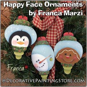 Happy Face Ornaments ePattern - Franca Marzi - PDF DOWNLOAD