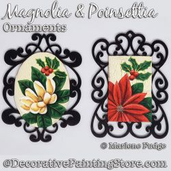 Magnolia and Poinsettia Ornaments Painting Pattern PDF DOWNLOAD - Marlene Fudge
