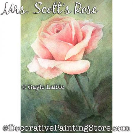 Mrs. Scotts Rose Watercolor - Gayle Laible - PDF DOWNLOAD