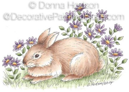 Bunny Petal Card Pattern - Donna Hodson - PDF DOWNLOAD