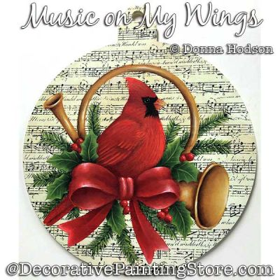 Music on My Wings (Cardinal) Painting Pattern PDF DOWNLOAD - Donna Hodson