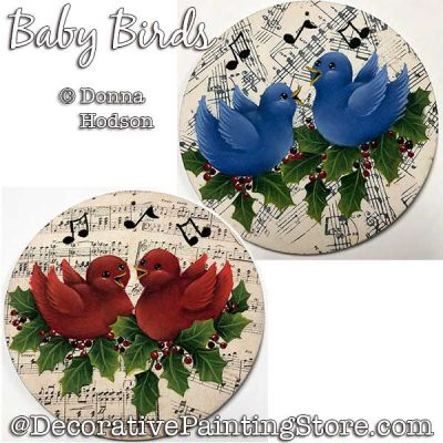 Baby Birds Ornaments Painting Pattern PDF DOWNLOAD - Donna Hodson