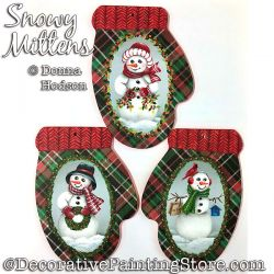 Snowy Mittens (Snowman) Painting Pattern PDF DOWNLOAD - Donna Hodson