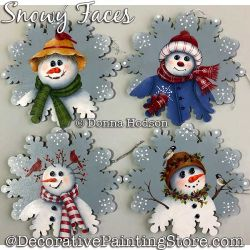 Snowy Faces (Snowman Ornaments) Painting Pattern PDF DOWNLOAD - Donna Hodson