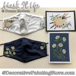 Mask It Up (Face Mask or Greeting Card) Painting Pattern PDF DOWNLOAD - Donna Hodson