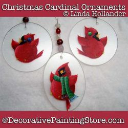 Christmas Cardinal Chorus Ornaments or Plaque DOWNLOAD Painting Pattern - Linda Hollander