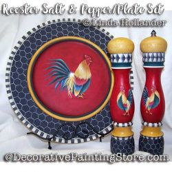Rooster Salt and Pepper/Plate Set ePacket - Linda Hollander - PDF DOWNLOAD
