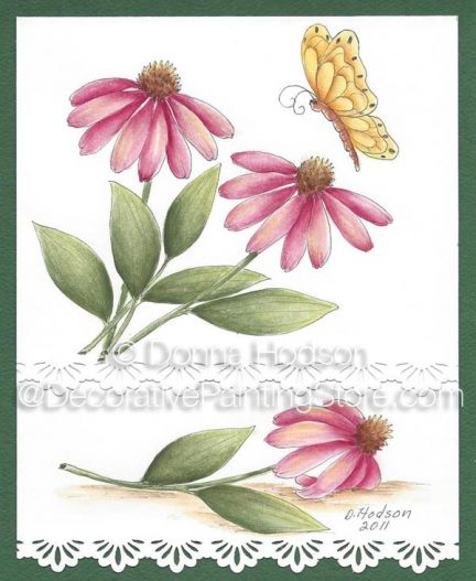 Pink Coneflower & Butterfly Pattern - Donna Hodson - PDF DOWNLOAD