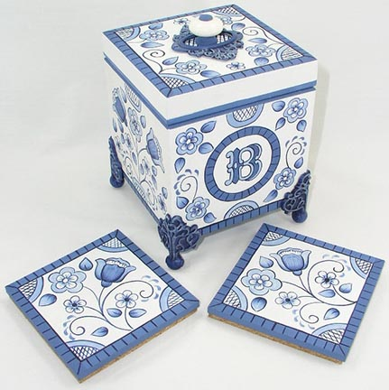 Blue Delft Floral Coaster Box and Coasters DOWNLOAD