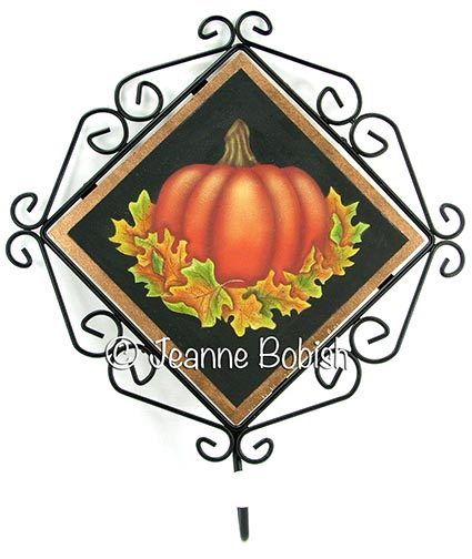 Pumpkin and Leaves Wire Framed Plaque with Hook E-Pattern DOWNLOAD