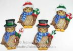 Peppermint Owl Ornaments Pattern - Jeanne Bobish - PDF DOWNLOAD