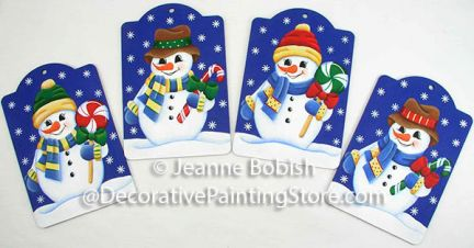 Peppermint Snowmen Ornaments Pattern - Jeanne Bobish - PDF DOWNLOAD