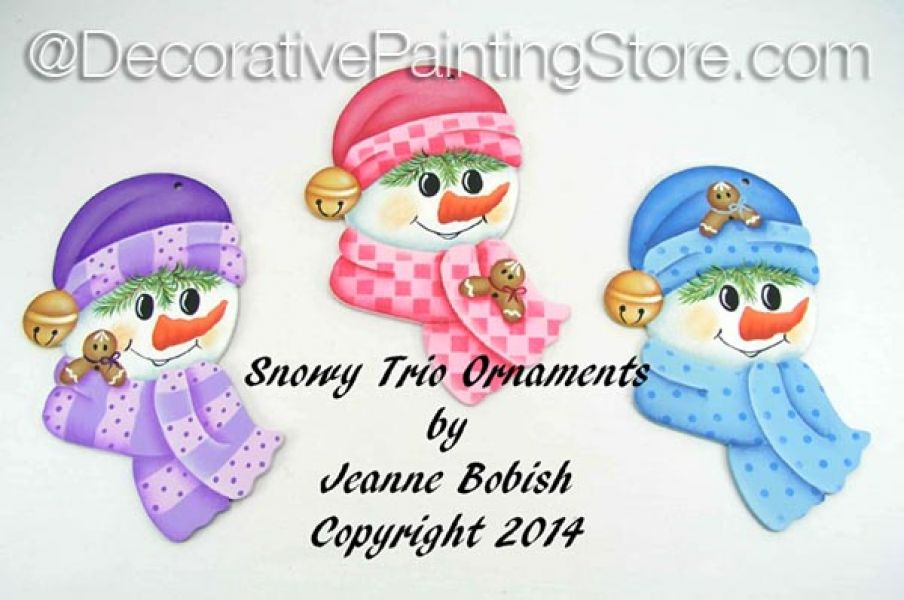 Snowy Trio Ornaments Pattern - Jeanne Bobish - PDF DOWNLOAD