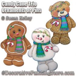 Candy Cane Trio Ornaments or Pins ePacket - Susan Kelley - PDF DOWNLOAD