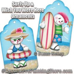 Surfs Up and Wish You Were Here Ornaments ePacket - Susan Kelley - PDF DOWNLOAD