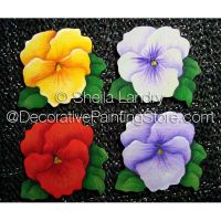 Painted Pansies Pins or Magnets ePattern - Sheila Landry