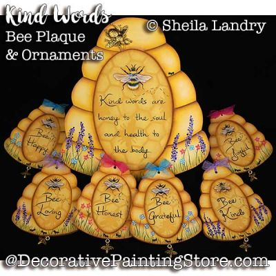 Kind Words Bee Plaque and Ornaments ePattern - Sheila Landry - PDF DOWNLOAD