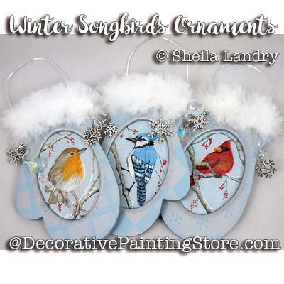 Winter Songbird Mitten Ornaments ePattern - Sheila Landry - PDF DOWNLOAD