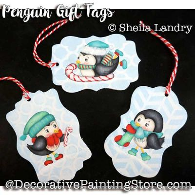 Christmas Penguin Gift Tag Ornaments ePattern - Sheila Landry - PDF DOWNLOAD
