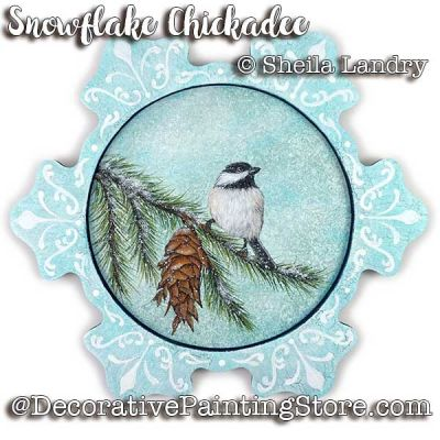 Snowflake Chickadee Plaque ePattern - Sheila Landry - PDF DOWNLOAD