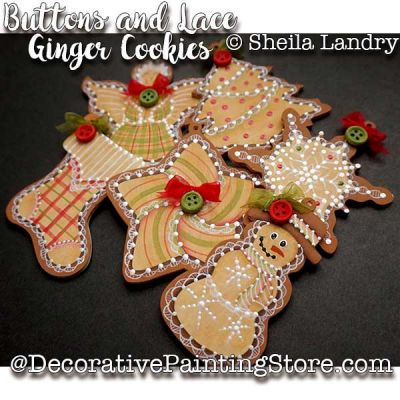 Buttons and Lace Ginger Cookies  Ornaments ePattern - Sheila Landry - PDF DOWNLOAD