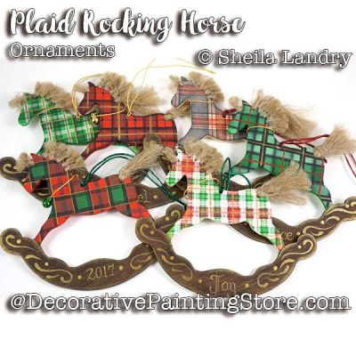 Six Plaid Christmas Rocking Horse  Ornaments ePattern - Sheila Landry - PDF DOWNLOAD