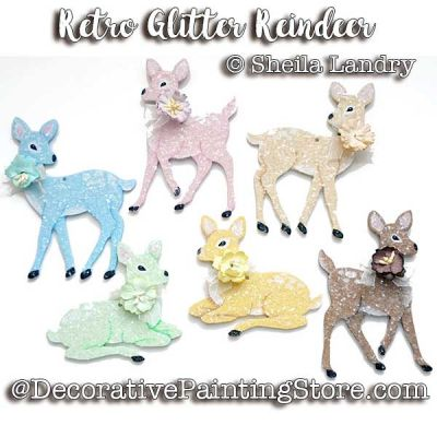 Retro Glitter Deer Ornaments ePattern - Sheila Landry - PDF DOWNLOAD