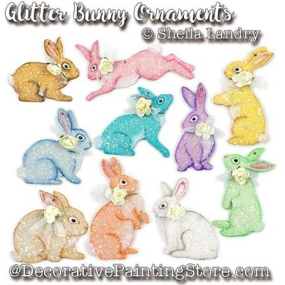 Glitter Bunny Ornaments ePattern - Sheila Landry - PDF DOWNLOAD