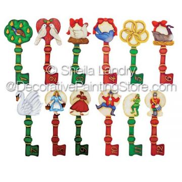 12 Days of Christmas Painted Key Ornaments ePattern - Sheila Landry