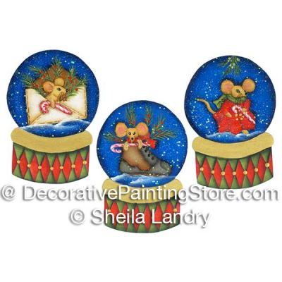 3 Winter Mice Snowglobe Ornaments ePattern - Sheila Landry