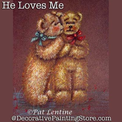 He Loves Me Teddy Bears Colored Pencil DOWNLOAD Painting Pattern - Pat Lentine