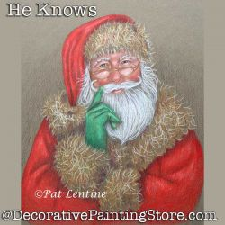 He Knows Colored Pencil Santa DOWNLOAD Painting Pattern - Pat Lentine