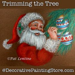 Trimming the Tree Colored Pencil Santa DOWNLOAD Painting Pattern - Pat Lentine
