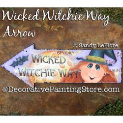 Wicked Witchie Way Arrow Sign Painting Pattern PDF DOWNLOAD - Sandy LeFlore
