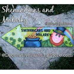 Shenanigans and Malarky Arrow Sign (Leprechaun) Painting Pattern PDF DOWNLOAD - Sandy LeFlore
