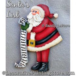 Santas List Ornament Painting Pattern PDF DOWNLOAD - Sandy LeFlore