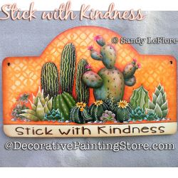 Stick with Kindness (Cactus) Painting Pattern PDF DOWNLOAD - Sandy LeFlore