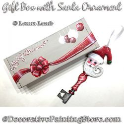 Gift Box with Santa Key Ornament DOWNLOAD Painting Pattern - Lonna Lamb