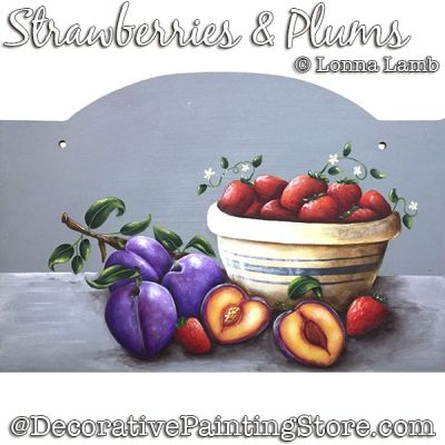 Strawberries and Plums DOWNLOAD Painting Pattern - Lonna Lamb