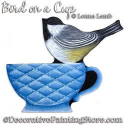 Bird on a Cup DOWNLOAD Painting Pattern - Lonna Lamb