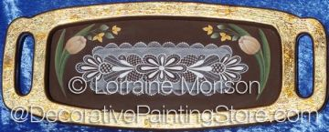 Gold Leaf Tray - Tulips and Lace Pattern - Lorraine Morison - PDF DOWNLOAD