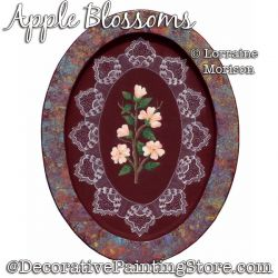 Apple Blossoms on Oval Box Painting Pattern PDF DOWNLOAD - Lorraine Morison