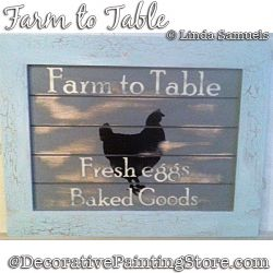 Farm to Table Sign (Chicken) Painting Pattern PDF Download - Linda Samuels