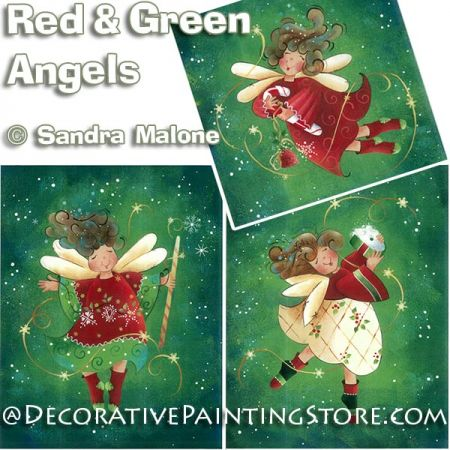 Red and Green Angels e-Pattern -Sandra Malone - PDF DOWNLOAD