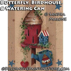Butterfly, Birdhouse, and Watering Can e-Pattern -Sandra Malone - PDF DOWNLOAD