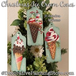 Christmas Ice Cream Cones Painting Pattern PDF DOWNLOAD -Sandra Malone