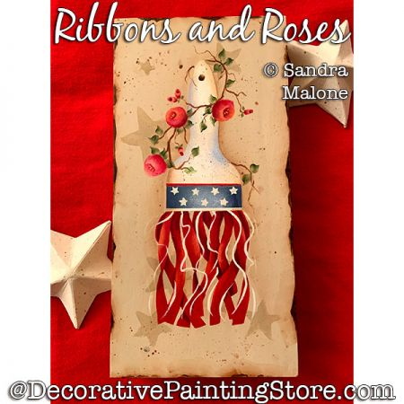 Ribbons and Roses Painting Pattern PDF DOWNLOAD -Sandra Malone