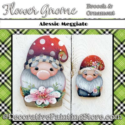 Flower Gnome (B) Brooch and Ornament Painting Pattern PDF DOWNLOAD - Alessio Meggiato