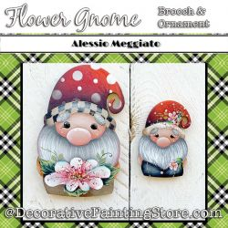 Flower Gnome Brooch and Ornament Painting Pattern PDF DOWNLOAD - Alessio Meggiato