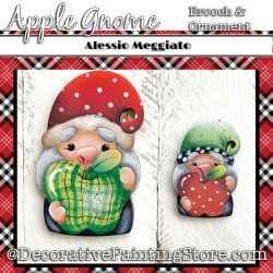 Apple Gnome Brooch and Ornament Painting Pattern PDF DOWNLOAD - Alessio Meggiato
